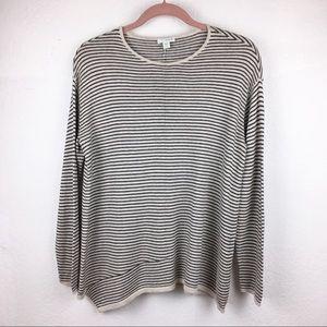 PURE JILL Striped Gray Tone Asymmetric Hem Sweater
